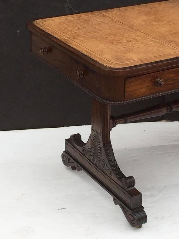 Scottish Library Table of Rosewood with Leather Top In Excellent Condition For Sale In Austin, TX