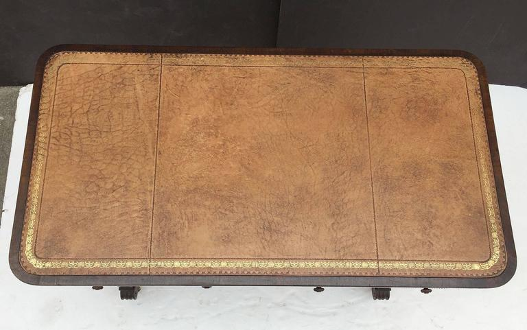 Brass Scottish Library Table of Rosewood with Leather Top For Sale