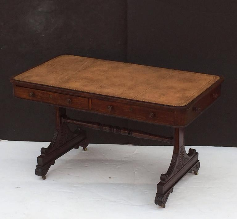Scottish Library Table of Rosewood with Leather Top For Sale 1