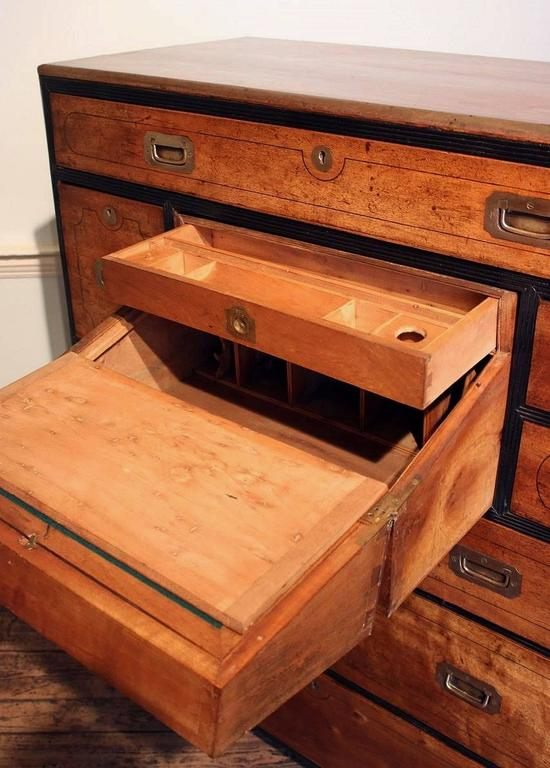 British Military Officer's Campaign Chest Secretary of Brass-Bound Camphor Wood 9