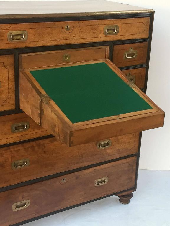 British Military Officer's Campaign Chest Secretary of Brass-Bound Camphor Wood 8
