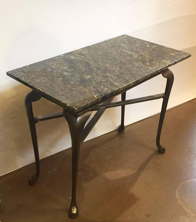 English Pub Bistro Table of Cast Iron with Granite Top For Sale 1