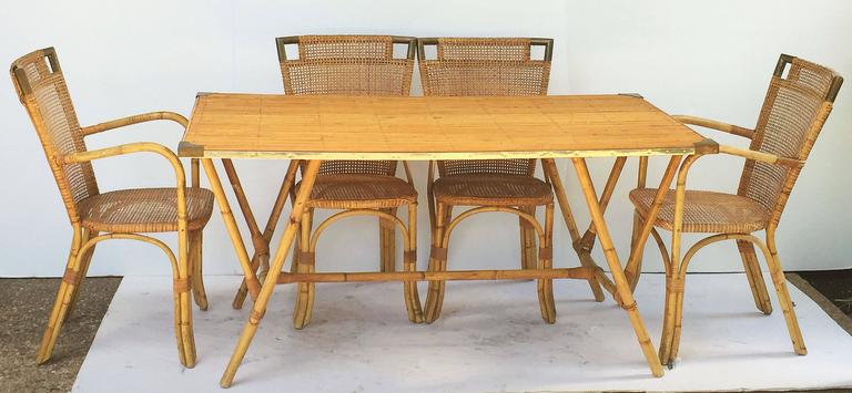 French Bamboo Table and Chairs Set 3