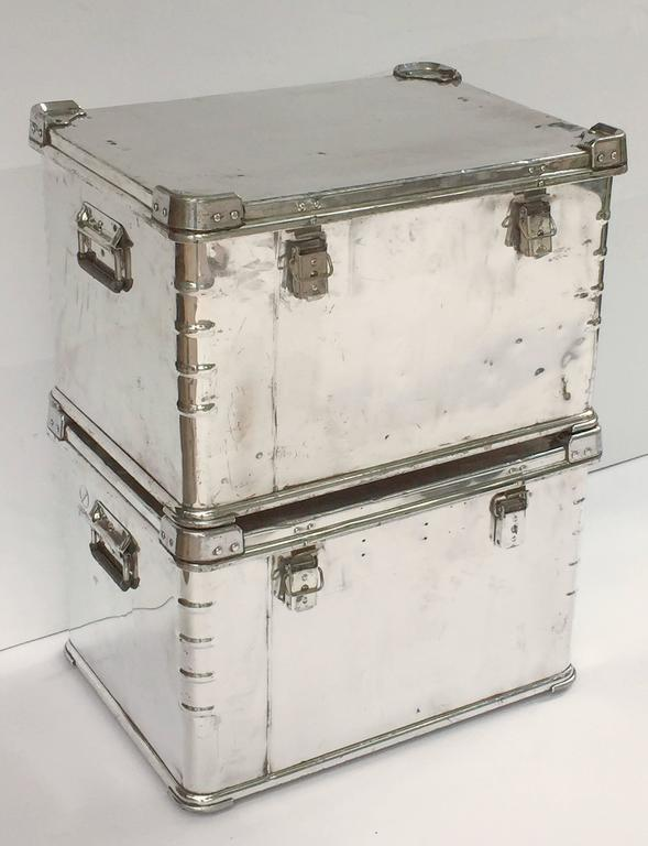 Pair of German Luggage Trunks of Polished Aluminum 2