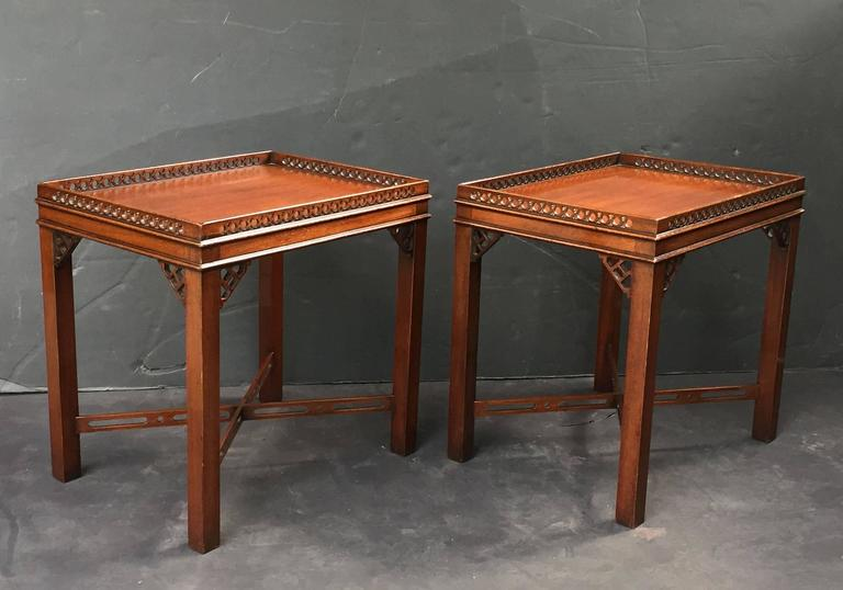 Pair of English Side or End Tables of Mahogany in the Chippendale Style 4