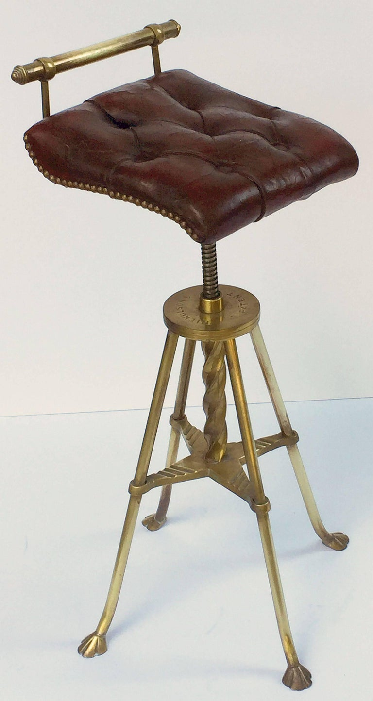 English Harpist's Stool of Brass with Original Button Leather Seat 2