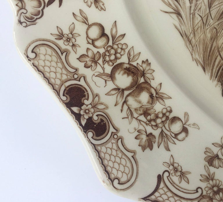 English Transferware Large Platter, Flying Turkeys by Johnson Brothers In Excellent Condition For Sale In Austin, TX