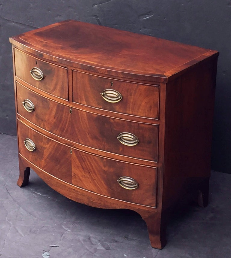 English Bow Front Chest of Inlaid Flame-Cut Mahogany 3