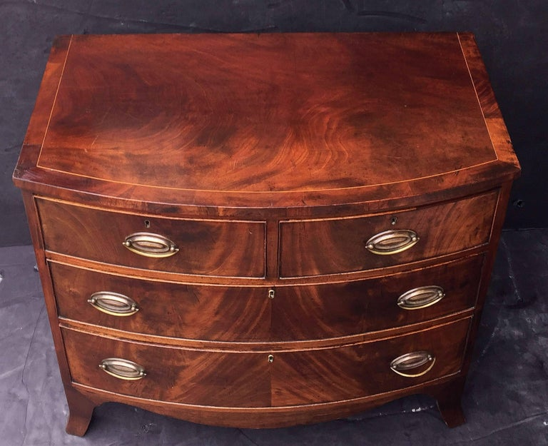 English Bow Front Chest of Inlaid Flame-Cut Mahogany 5