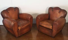 Pair of French Art Deco Leather Club Chairs (Priced Individually)
