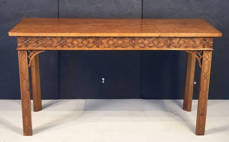 English Walnut Console Table or Server in the Chinese Chippendale Style In Excellent Condition For Sale In Austin, TX