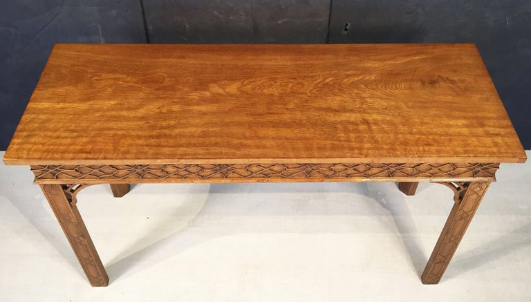 20th Century English Walnut Console Table or Server in the Chinese Chippendale Style For Sale