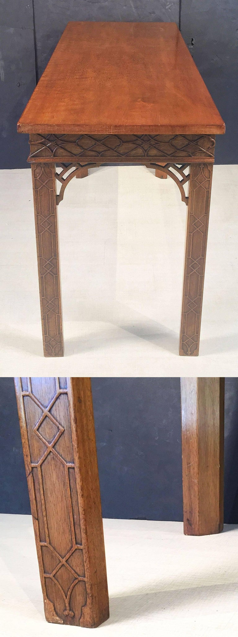 English Walnut Console Table or Server in the Chinese Chippendale Style For Sale 4