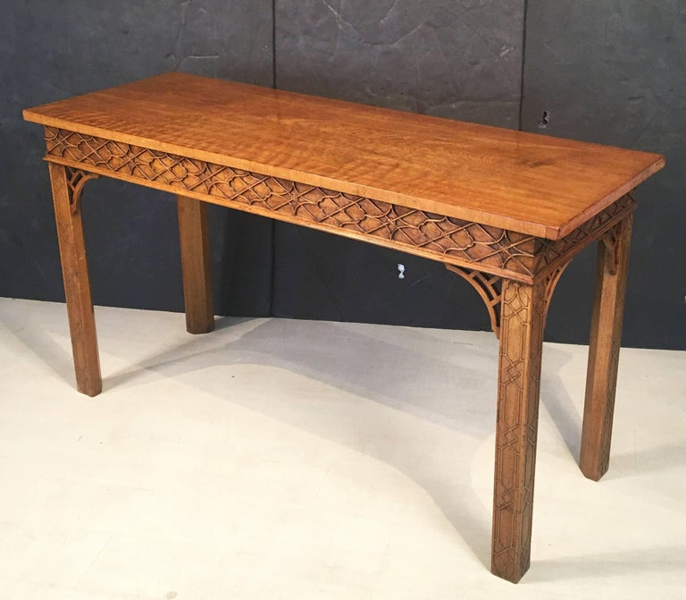 Carved English Walnut Console Table or Server in the Chinese Chippendale Style For Sale