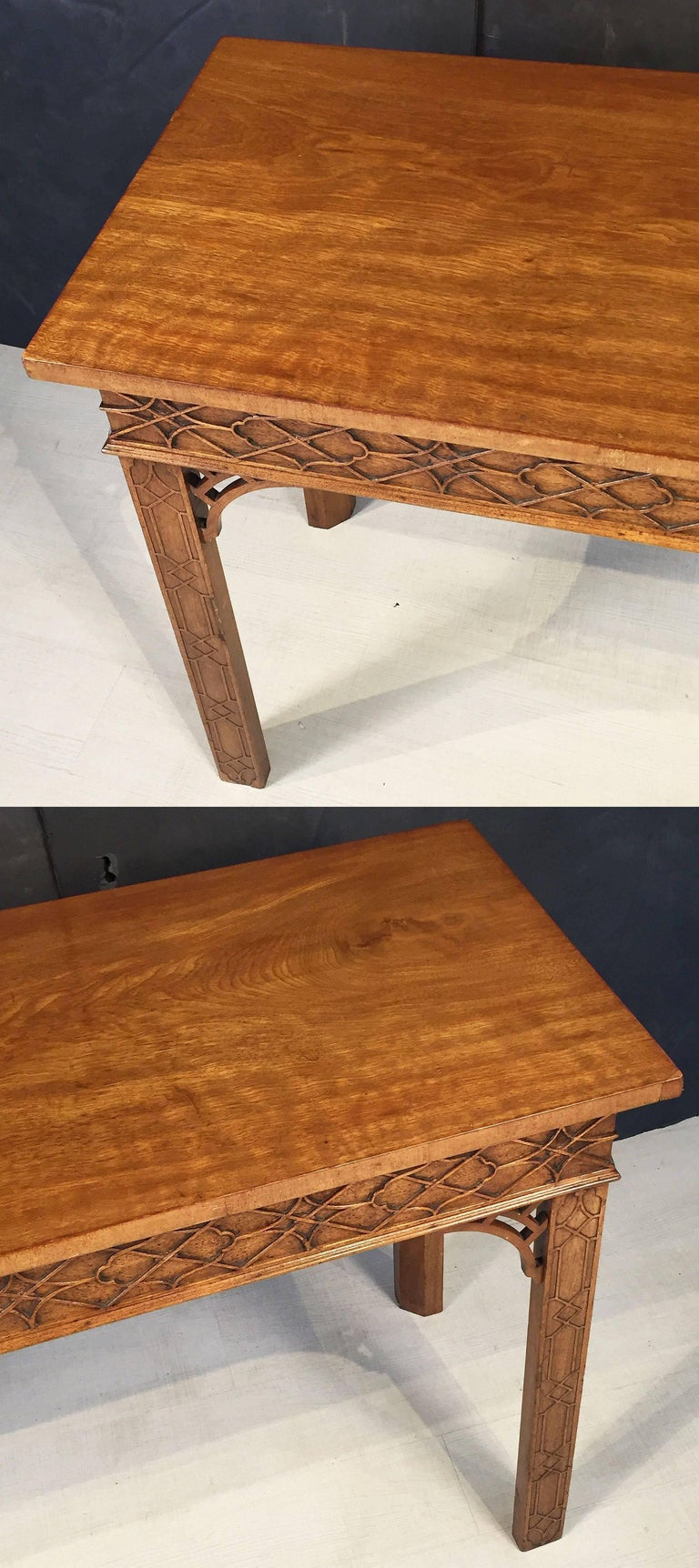 English Walnut Console Table or Server in the Chinese Chippendale Style For Sale 1