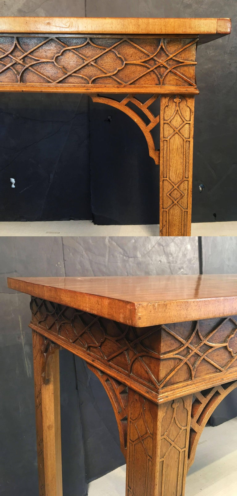 English Walnut Console Table or Server in the Chinese Chippendale Style For Sale 2