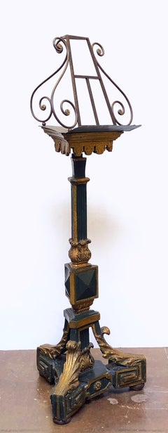 English Wrought Iron Lectern or Music Stand on Carved Wood Plinth