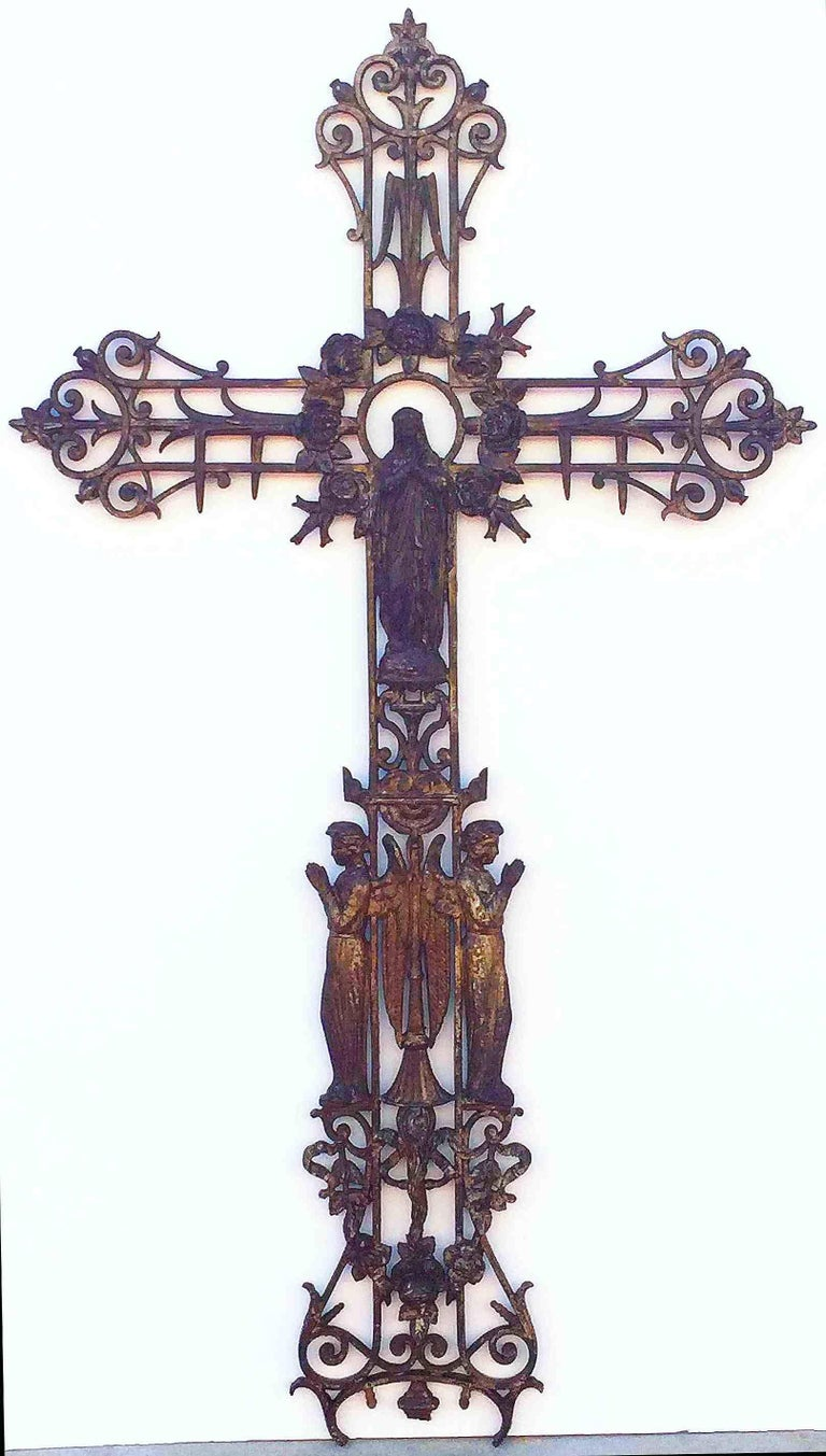 Large French Crucifix Or Cross With Madonna And Angels Of Cast Iron