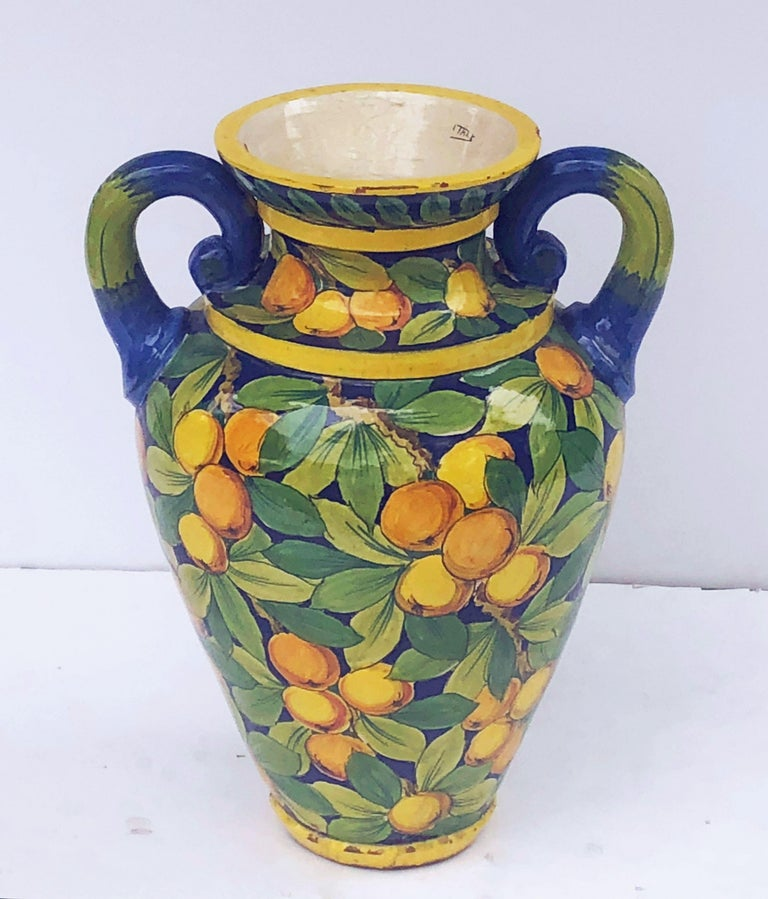 Glazed Large Italian Majolica Vase with Lemons and Oranges Design 'H 25' For Sale