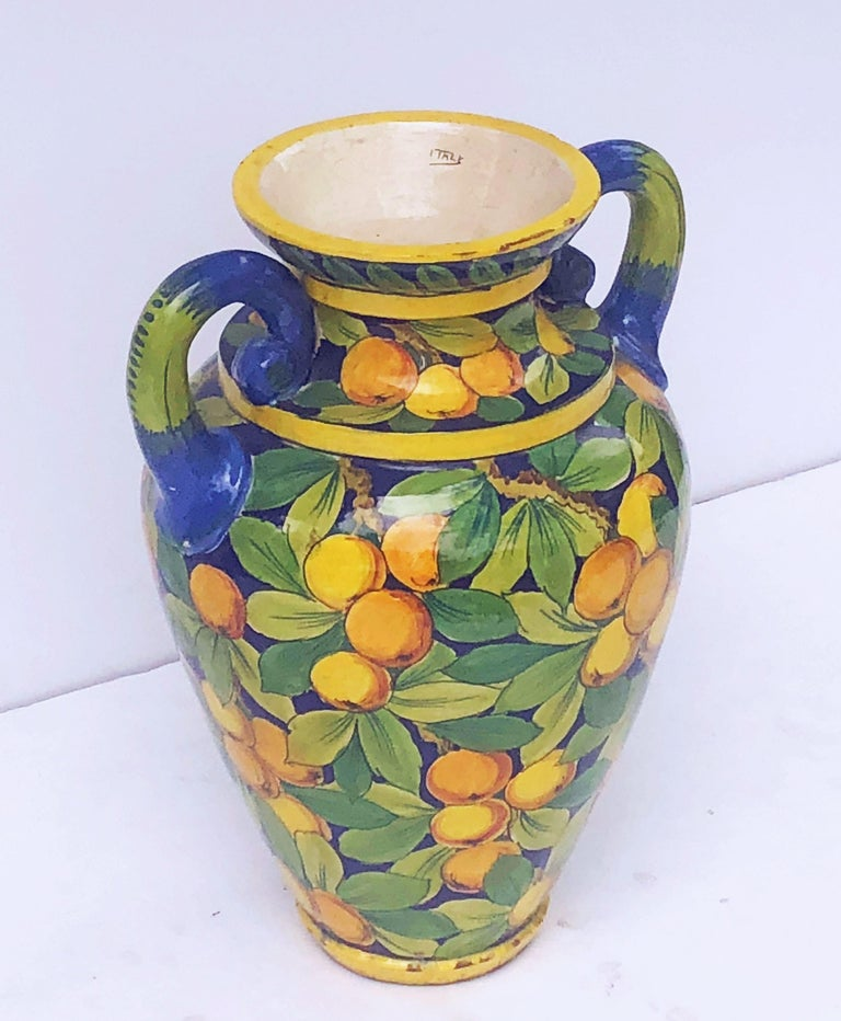 Large Italian Majolica Vase with Lemons and Oranges Design 'H 25' For Sale 3