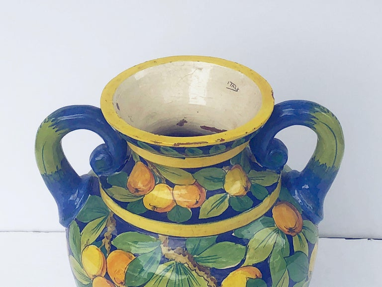 Large Italian Majolica Vase with Lemons and Oranges Design 'H 25' For Sale 4