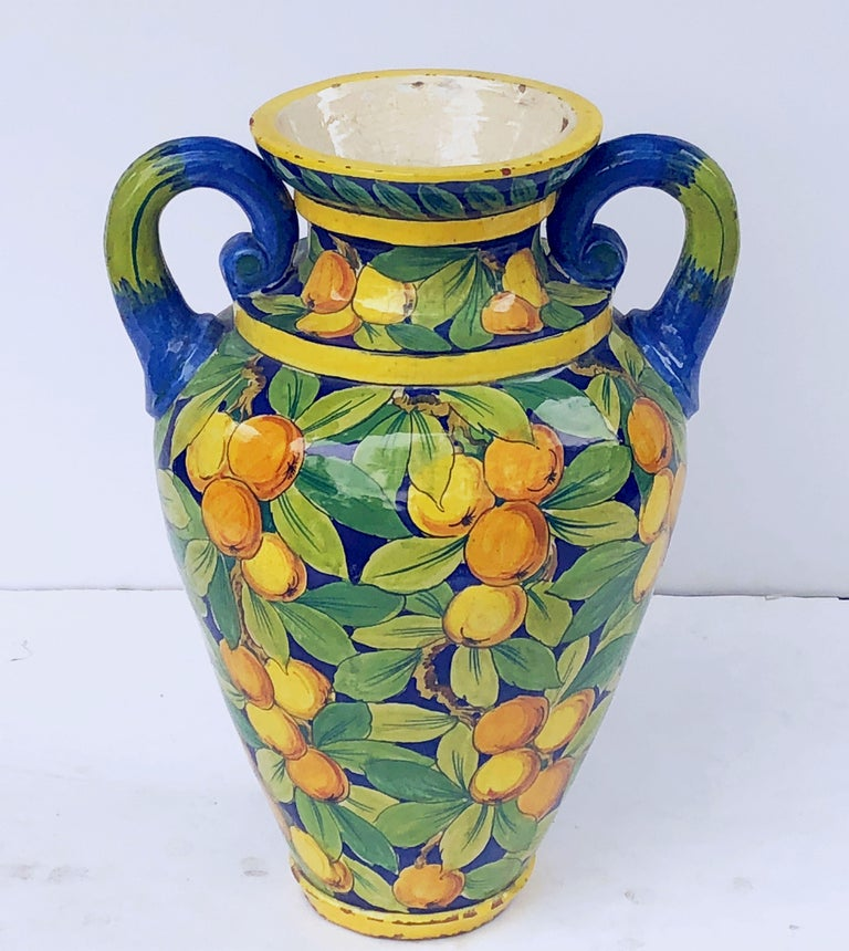 20th Century Large Italian Majolica Vase with Lemons and Oranges Design 'H 25' For Sale