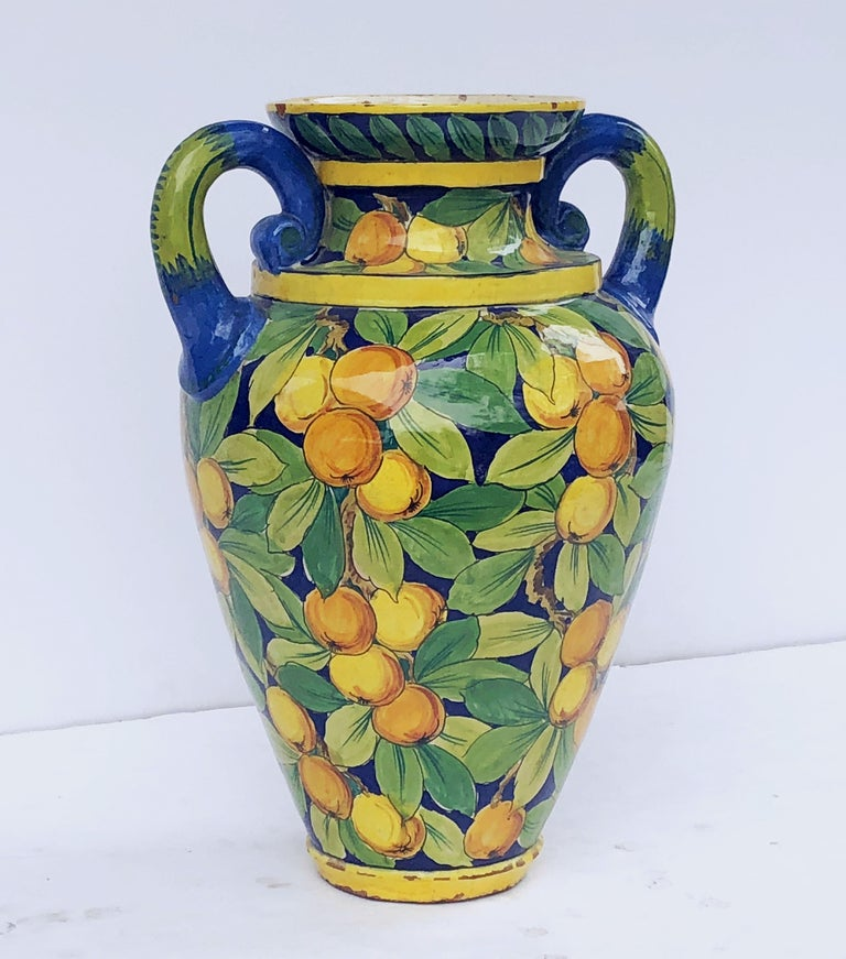 Large Italian Majolica Vase with Lemons and Oranges Design 'H 25' For Sale 1