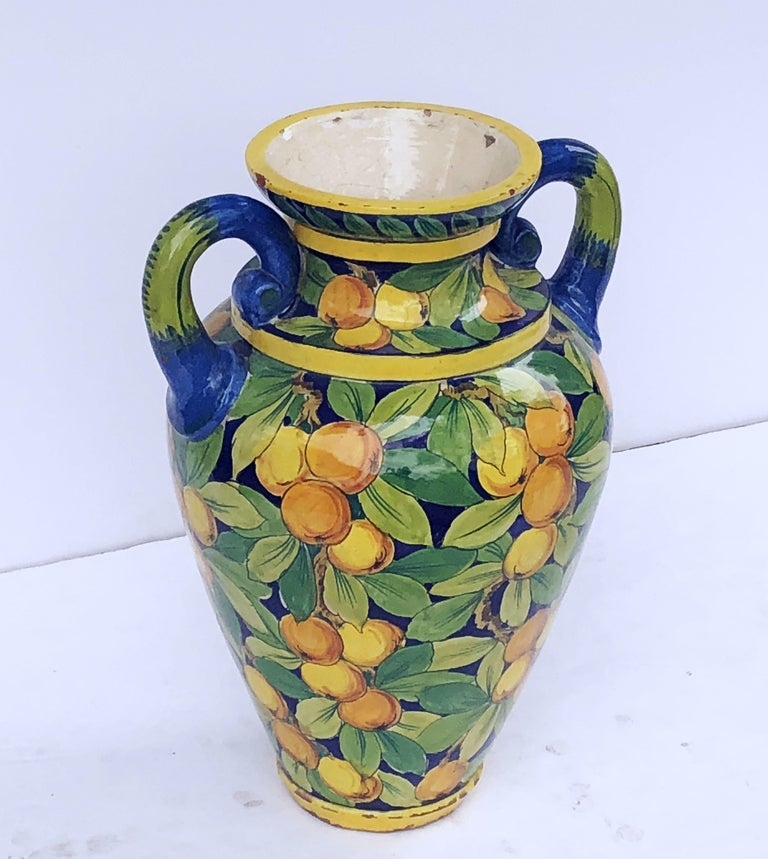 Large Italian Majolica Vase with Lemons and Oranges Design 'H 25' In Excellent Condition For Sale In Austin, TX