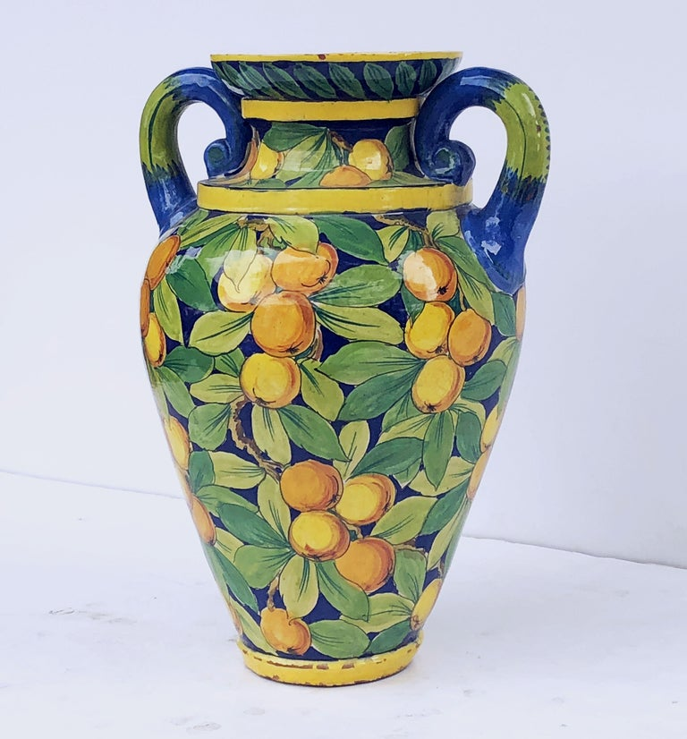Large Italian Majolica Vase with Lemons and Oranges Design 'H 25' For Sale 2