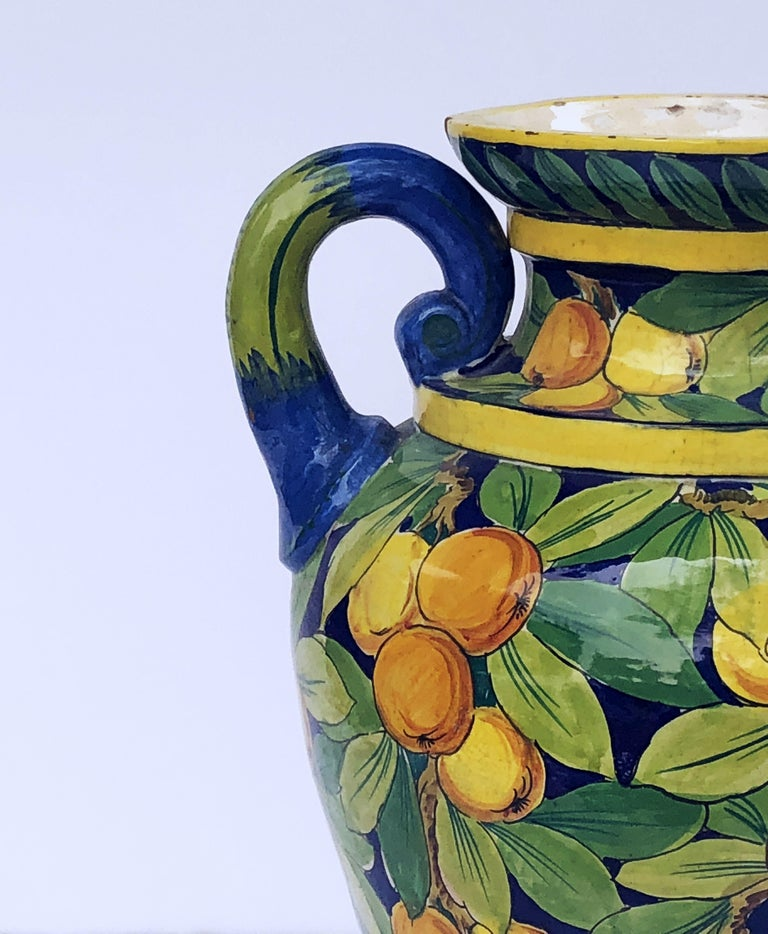 Large Italian Majolica Vase with Lemons and Oranges Design 'H 25' For Sale 5