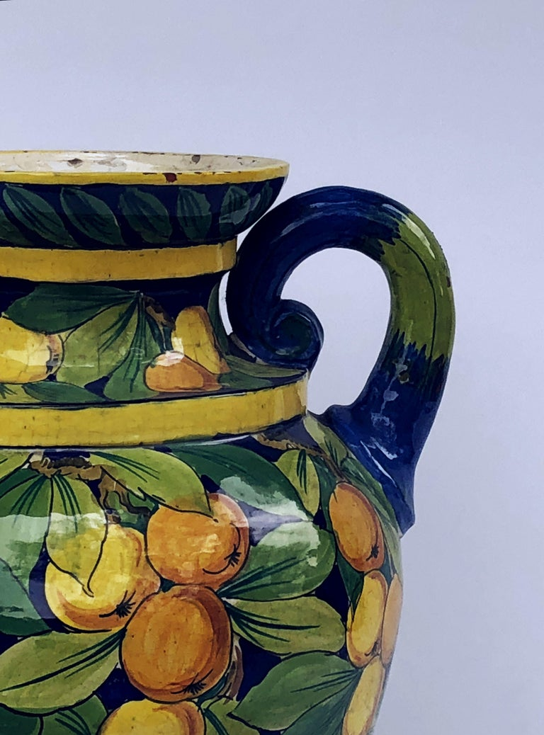 Large Italian Majolica Vase with Lemons and Oranges Design 'H 25' For Sale 6