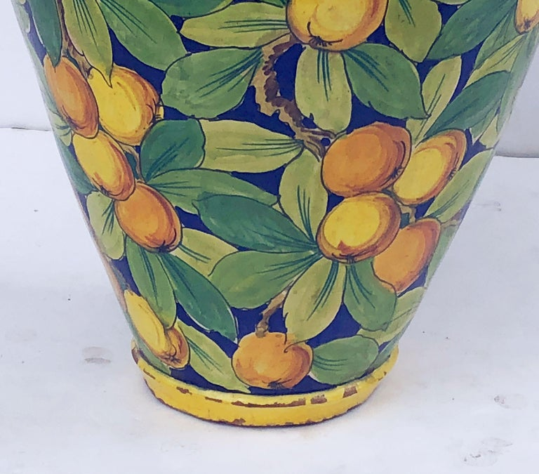 Large Italian Majolica Vase with Lemons and Oranges Design 'H 25' For Sale 9