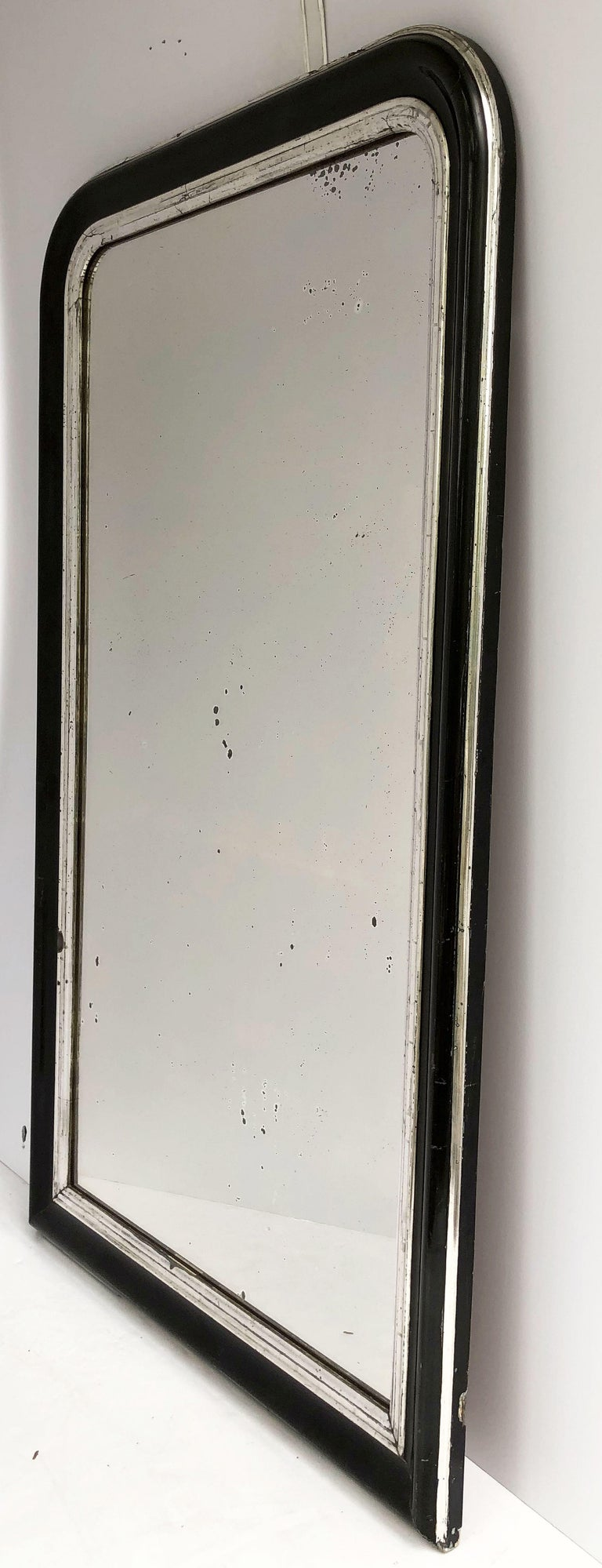 French Napoleon III Period Black and Silver Mirror from France (H 53 1/2 x W 32 1/4) For Sale