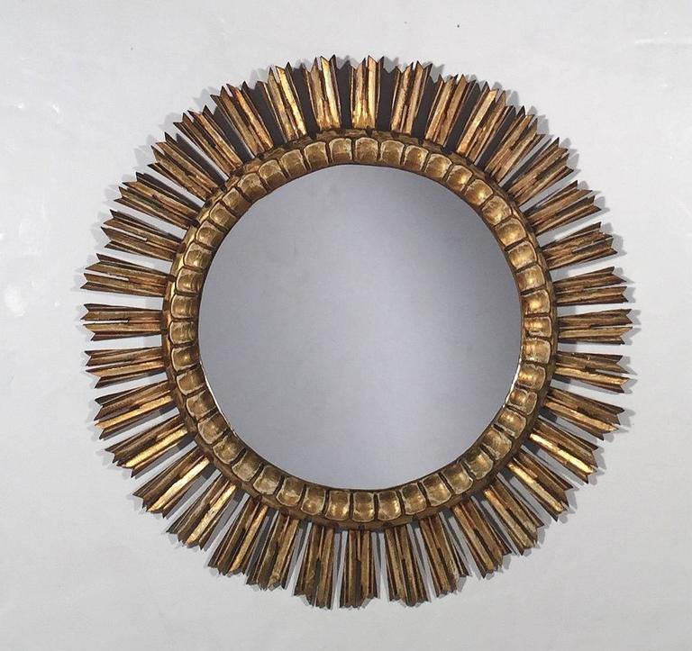 "French Gilt Sunburst or Starburst Mirror (Dia 25"") 2"