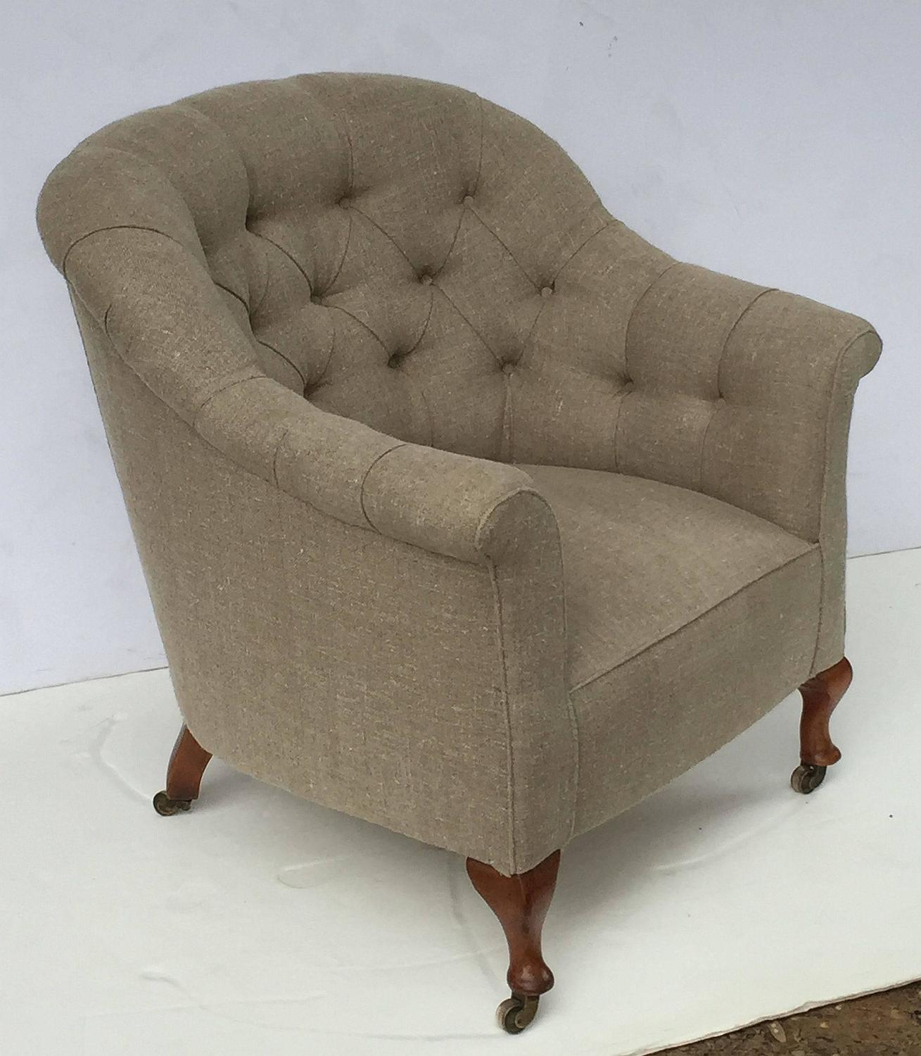 English Upholstered Armchair on Turned Legs For Sale at ...
