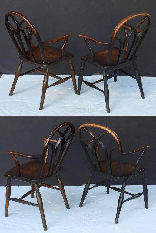 Wood Pair of English Ash Lowback Windsor Chairs For Sale