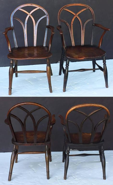 18th Century and Earlier Pair of English Ash Lowback Windsor Chairs For Sale