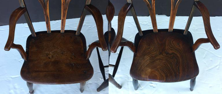 Pair of English Ash Lowback Windsor Chairs For Sale 2