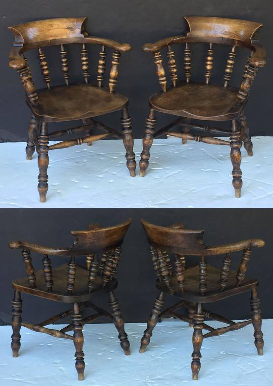 Set of Eight English Bow Arm Chairs 4