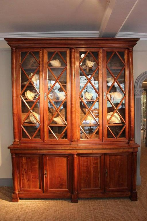 Large French Glazed Front Bibliotheque or Bookcase of Cherry In Excellent Condition For Sale In Austin, TX