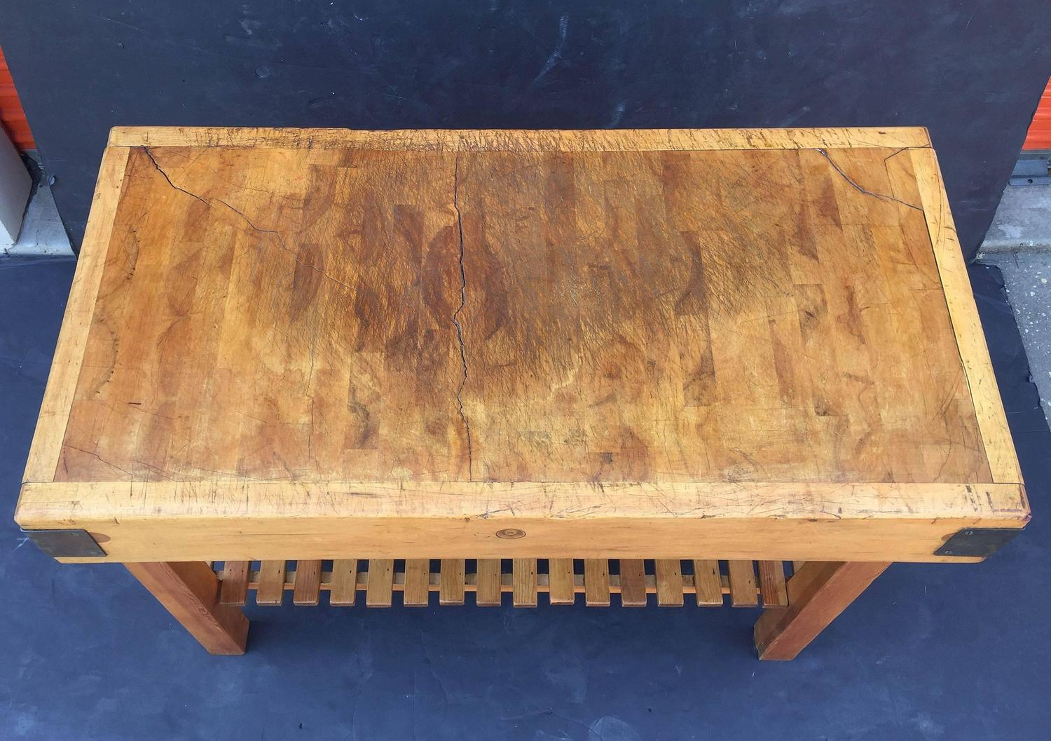 large french butcher s block on stand at 1stdibs