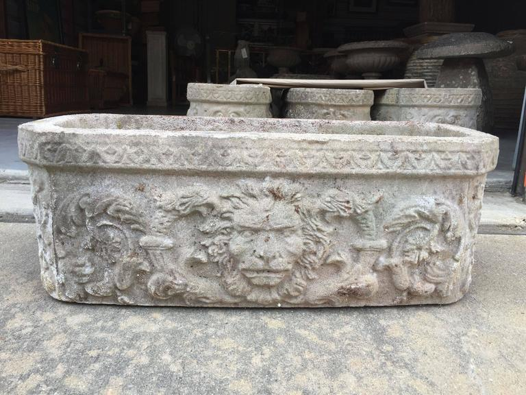 A Selection Of Four Large English Garden Troughs Or Planters Composition Stone