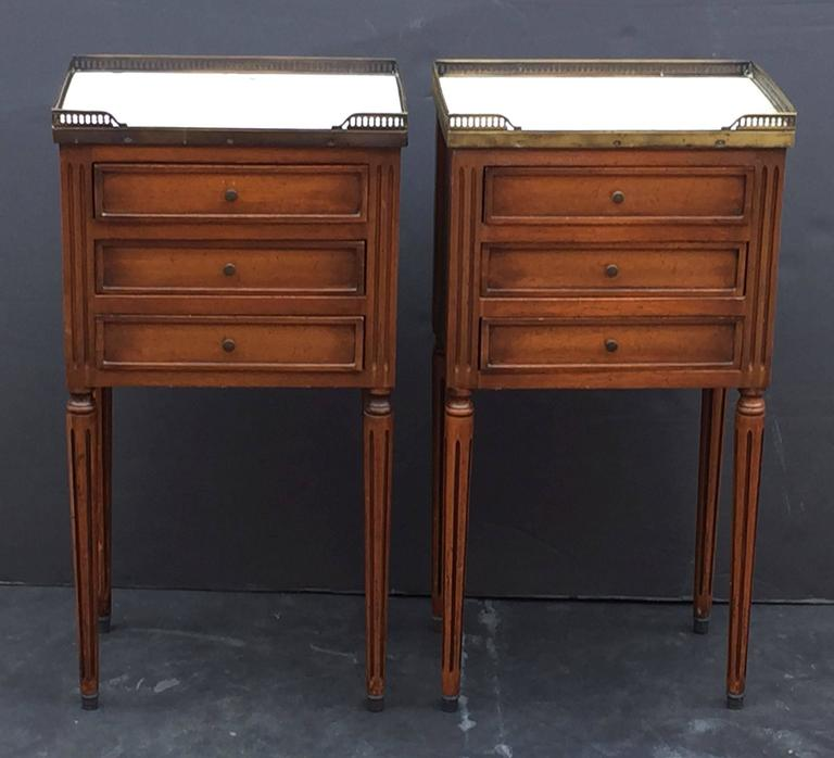Pair of french nightstands with marble tops at 1stdibs for Bedroom furniture 78745