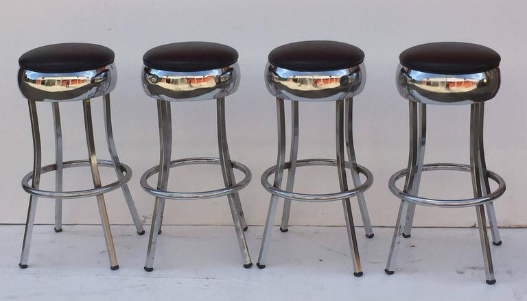 American Six Chrome Bar Stools 'Priced Individually' For Sale
