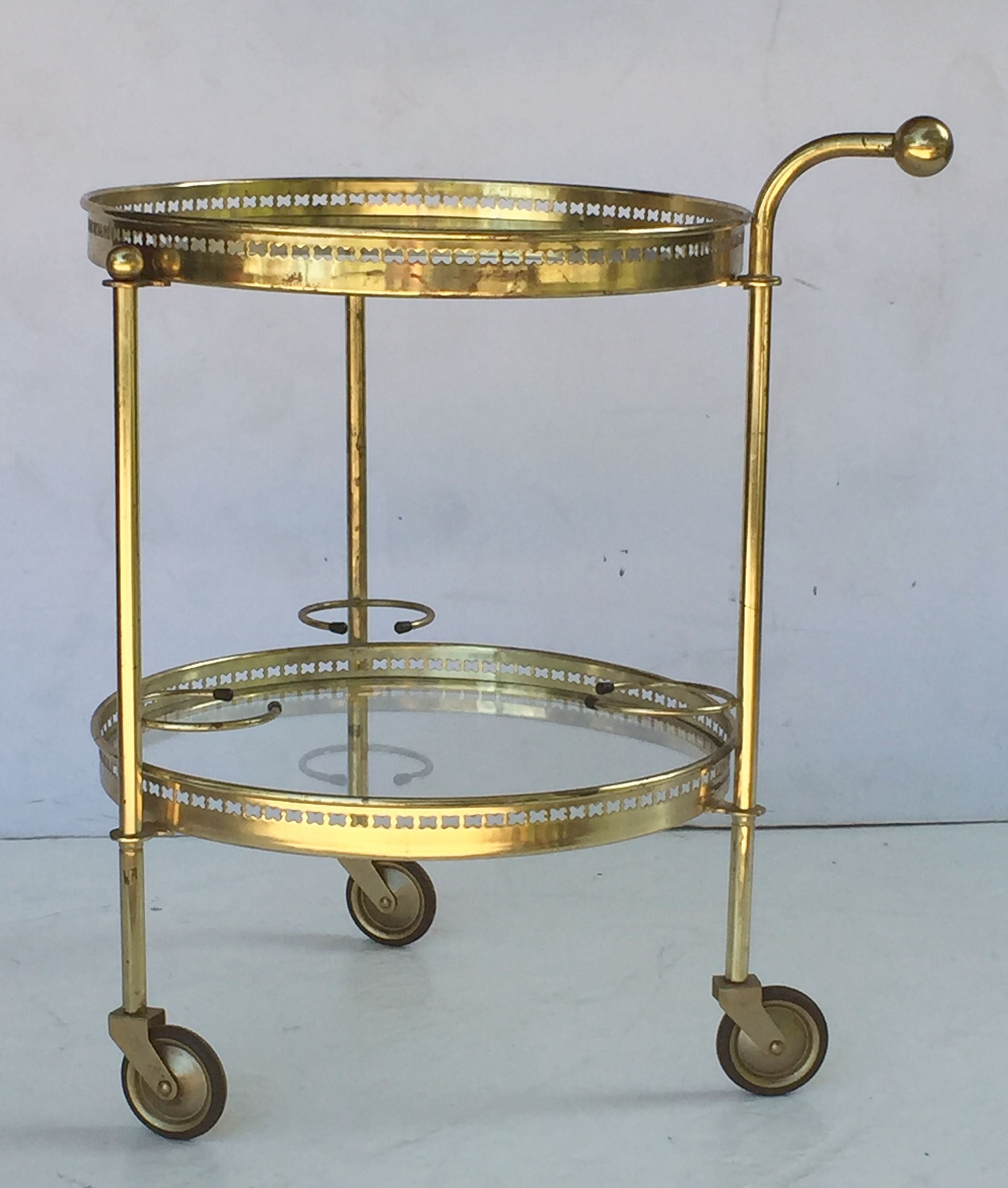 French Round Drinks Cart of Brass and Glass For Sale at 1stdibs