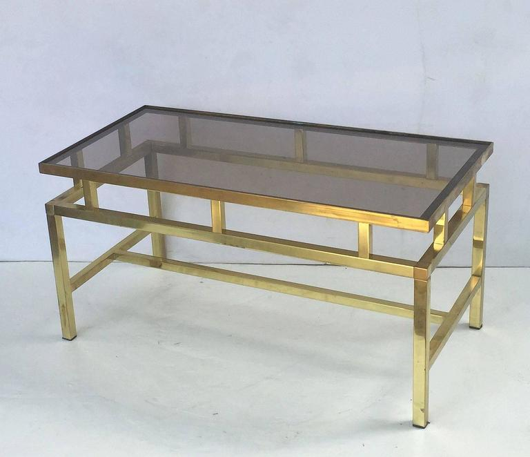 English Coffee or Low Table of Brass with Smoked Glass Top For Sale 3