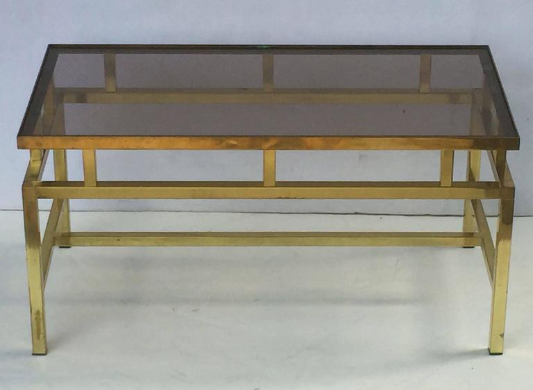 English Coffee or Low Table of Brass with Smoked Glass Top In Excellent Condition For Sale In Austin, TX