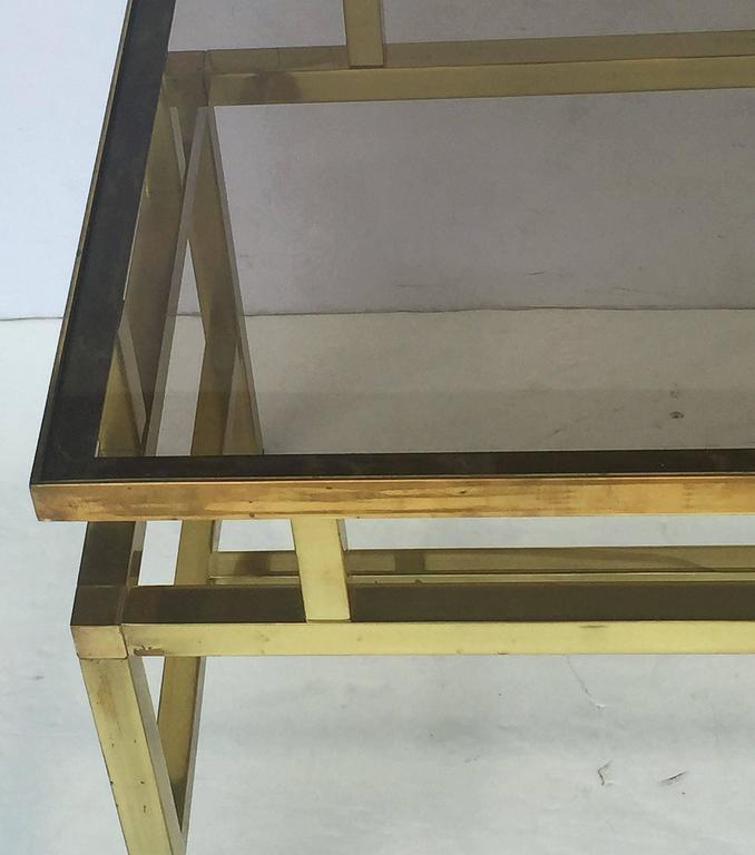 English Coffee or Low Table of Brass with Smoked Glass Top For Sale 5