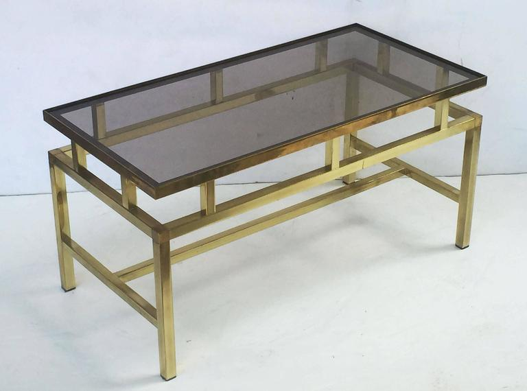 English Coffee or Low Table of Brass with Smoked Glass Top For Sale 4
