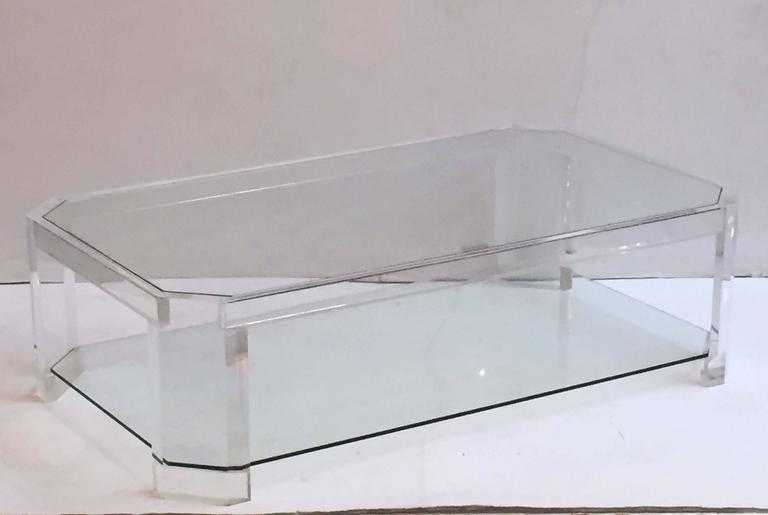 A Fine Large French Rectangular Coffee Or Low Cocktail Table Of Lucite With  Two Inset Tiers
